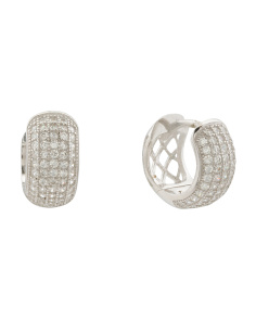 Sterling Silver Micropave Cz Huggie Earrings