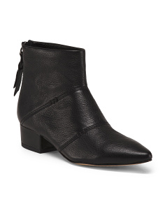 Pointy Toe Block Heel Leather Booties