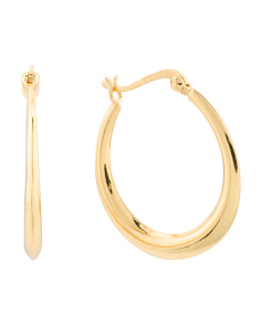 Made In Thailand 18k Gold Plated 925 Graduated Hoop Earrings