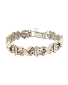 Made In Israel Sterling Silver And 14k Gold X Bracelet