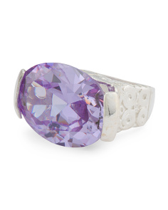 Made In Israel Sterling Silver Cz Lavender East West Ring