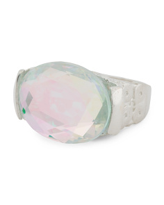 Made In Israel Sterling Silver Rainbow Quartz East West Ring