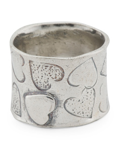 Made In Israel Sterling Silver Textured Heart Ring