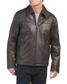 Faux Leather Shirt Collar Jacket