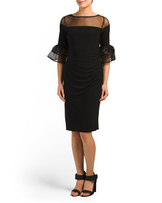 Petite Sheer Bell Sleeve Dress