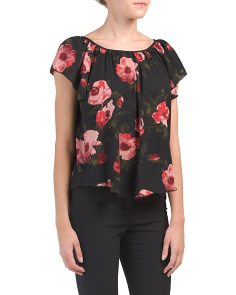Gathered Scoop Neck Hi-lo Blouse