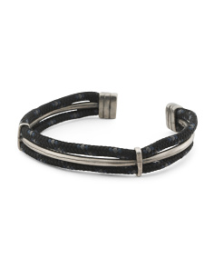 Men's Made In Great Britain 925 Black Rope Aire Cuff Bracelet