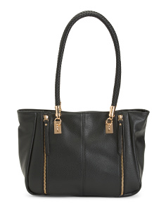 Side Zip Leather Tote