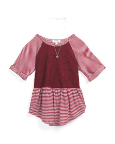 Big Girls Lace Stripe Top