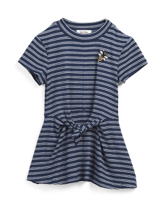 Big Girls Striped Rib Tie Front Top