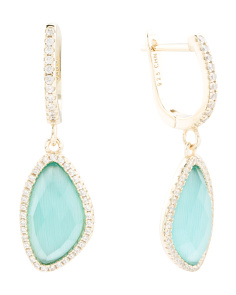 Gold Plated Sterling Silver Aqua Cats Eye And Cz Earrings