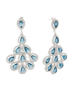 Sterling Silver Blue And White Cz Chandelier Earrings