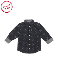 Star Print Button Down Woven Shirt