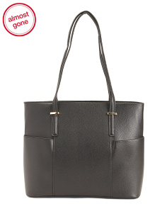 Side Pocket Leather Tote
