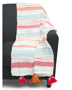 Multi Pleated Tassel Throw