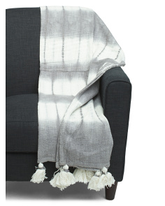 Shibori Tie Dye Tassel Throw