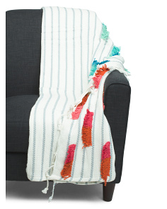 Tufted Slub Fringe Throw