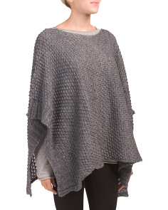Made In Italy Waffle Knit Poncho