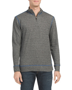 Heathered French Terry Quarter Zip Top