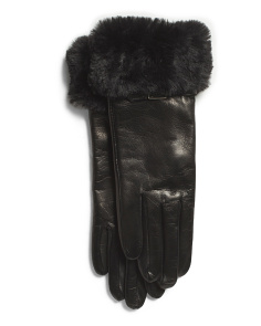 Made In Italy Buckle Trim Leather Gloves