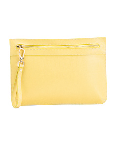 Made In Italy Zip Front Leather Wristlet