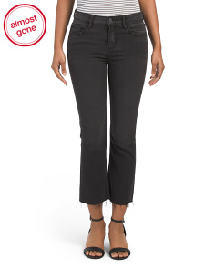 Raw Hem Cropped Flare Jeans