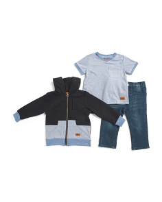 Toddler Boys 3pc Hoodie T-shirt & Jean Set
