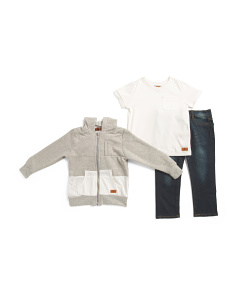 Toddler Boys 3pc Hoody T Shirt & Pant Set