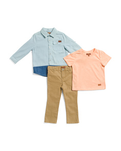 Toddler Boys 3pc Woven Shirt & Pant Set