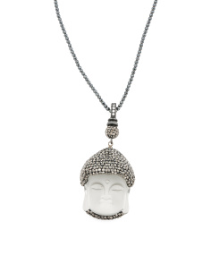 Made In Turkey Sterling Silver Crystal Buddha Necklace