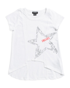 Little Girls Star Hi-lo Top