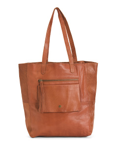 Leather Heather Tote With Pocket