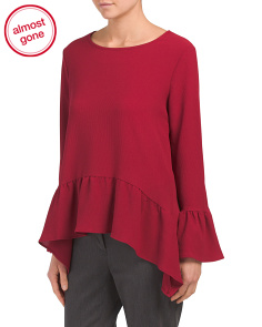 Made In Usa Bell Sleeve Ruffle Trim Top