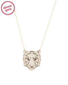Gold Plated Sterling Silver Pave Cz Tiger Necklace