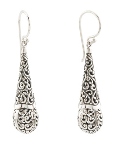 Made In Bali Sterling Silver Oxidized Drop Earrings
