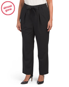 Plus High Waist Pants With Tie Detail