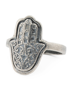 Made In Israel Sterling Silver Filigree Hamsa Ring