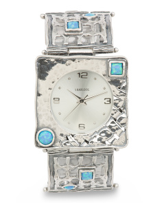 Women's Made In Israel Sterling Silver 28mm Opal Watch