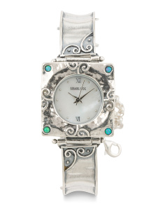 Women's Made In Israel Sterling Silver 20mm Opal Watch