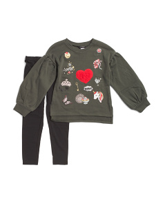 Little Girls Glitter Patch Legging Set
