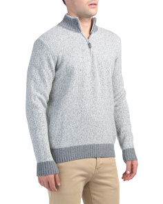 Made In Italy Wool Blend Quarter Zip Sweater