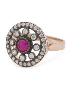 Made In Turkey Sterling Silver Ruby And Cz Medallion Ring