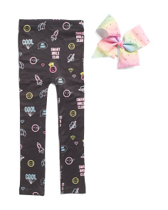 Girls Neon Emoji Fleece Lined Leggings With Matching Bow