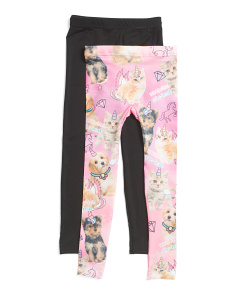 Girls 2pk Unicorns Are Real Seamless Leggings