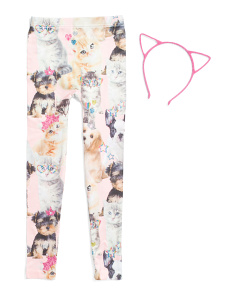 Girls Cat Leggings With Matching Headband