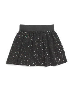 Girls Foil Star Skater Skirt