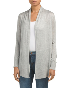 Petite Open Front Long Cardigan