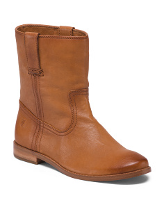 Mid Shaft Leather Booties