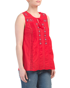 Jersey Woven Embroidered Tank