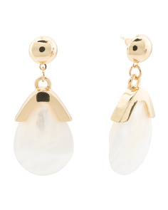 Gold Tone Mother Of Pearl Teardrop Earrings
